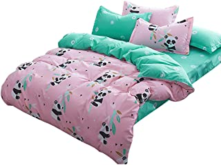 Bed Sheet Set Pillowcase Sets Fitted Sheets Comforters Double Bedding Sets 4pcs Panda Pattern Bed Cover Sets Sheet