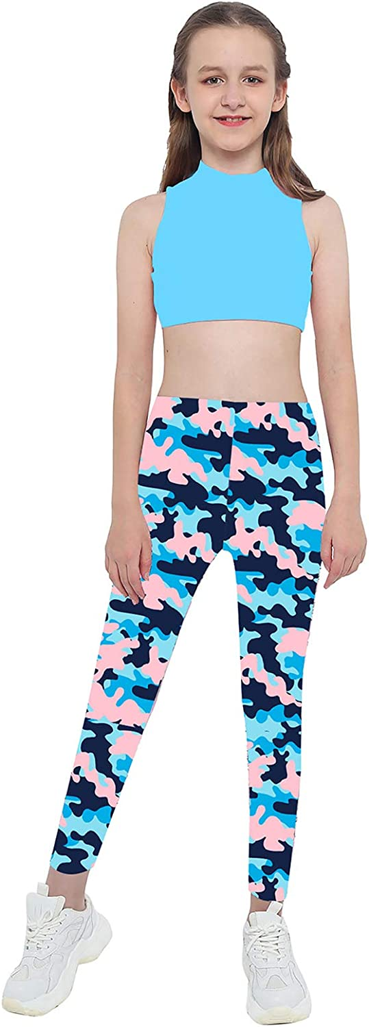Nimiya Kids Girls' Two Pieces Crop Tops with Athletic Leggings Outfits for Hip Hop Dance Gymnastics Workout Camouflage Blue 10
