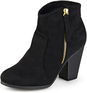 Journee Collection Women's High Heel Faux Suede Ankle Boots Black, 8.5 Wide Width US