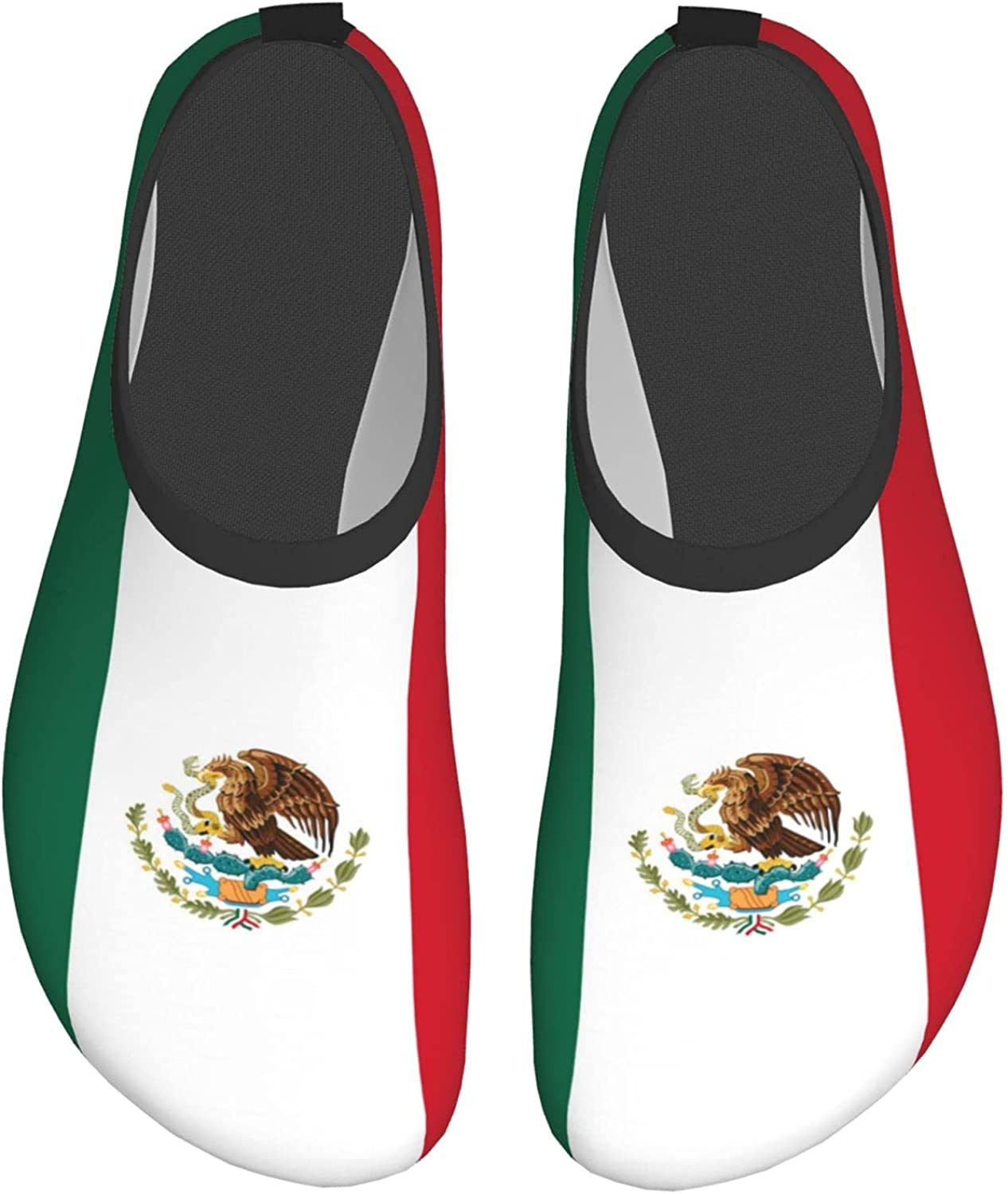 Paiyxxycv Mexico (Mexican) Flag Mens and Womens Water Shoes Barefoot Quick-Dry Aqua Yoga Socks Slip-On for Beach Sports Swim Snorkeling
