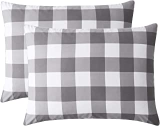 Wake In Cloud - Pack of 2 Pillow Cases, Buffalo Check Gingham Geometric Checker Pattern Printed in Gray Grey White, Soft Microfiber Pillowcases (Standard Size, 20x26 Inches)