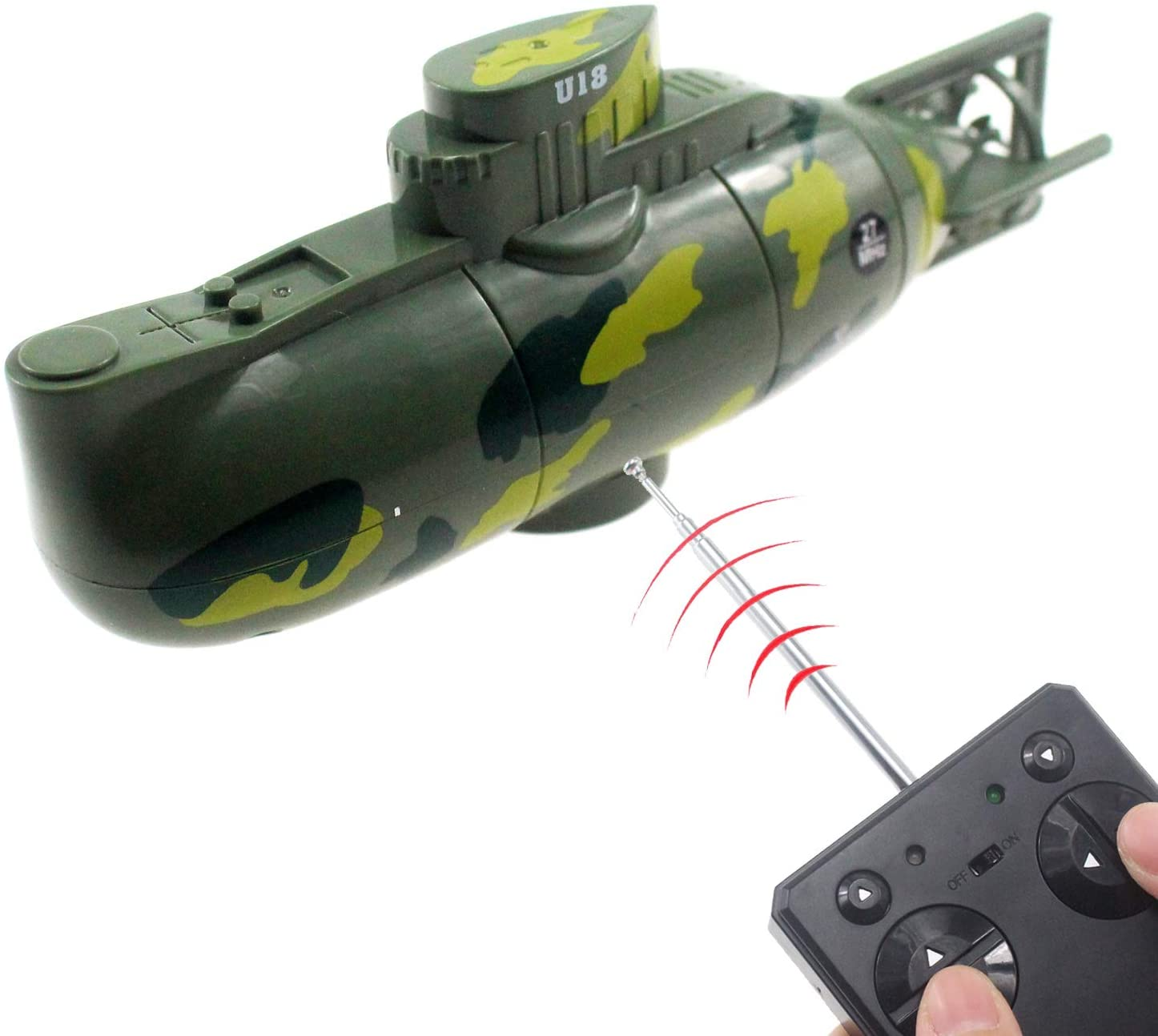 Submarino De Cuatro Canales Juguete El/éctrico Subacu/ático con 3 Luces LED qianqian Submarino A Control Remoto para Ba/ñera Piscina