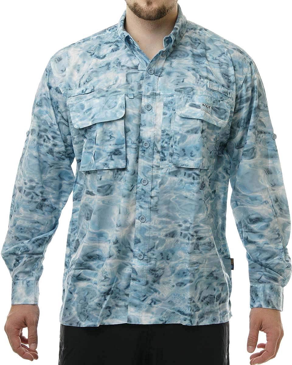 Aqua Design - Camisa de Pesca para Hombre (Manga Larga), diseño de Camuflaje