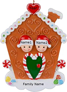 MAXORA Gingerbread House Personalized Family 2 Christmas Ornament -Free Customization