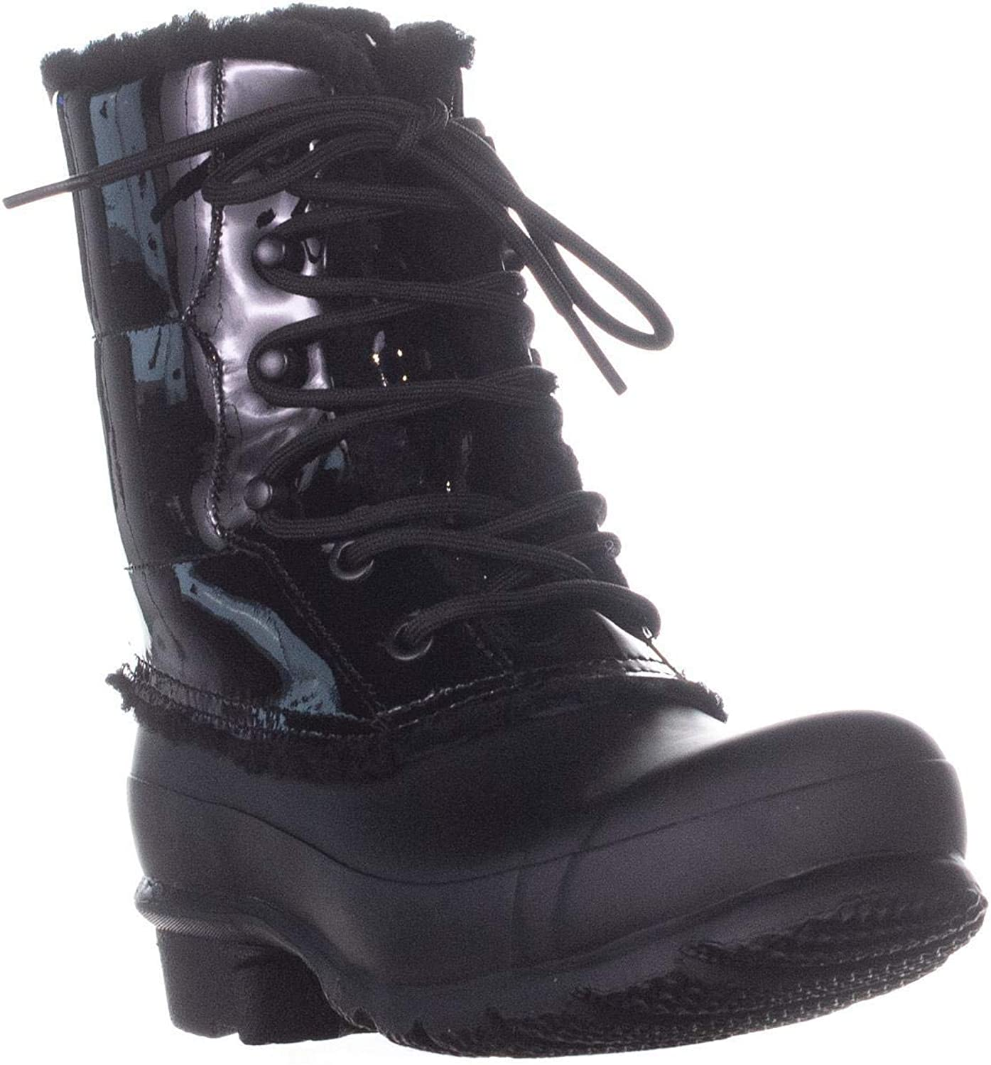Hunter Womens Patent Leather Rubber Square Toe Mid-Calf Cold Weather Boots