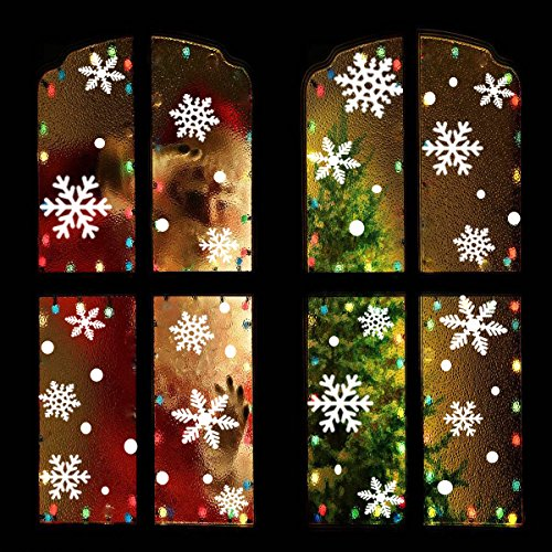 OuMuaMua Christmas Snowflake Window Clings Decal - 176PCS Removable PVC Wall Window Sticker for Christmas, Holiday, Winter Wonderland White Decorations