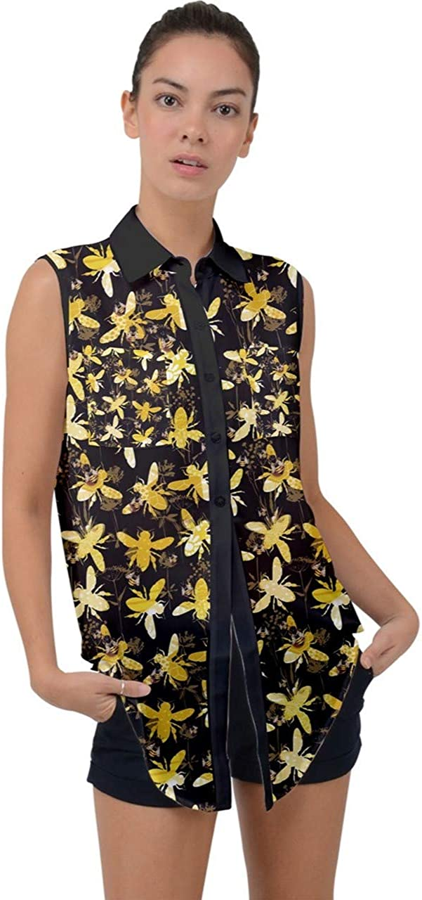 CowCow Womens Summer Top Pattern of The Bee on Honeycombs Sleeveless Chiffon Button Shirt