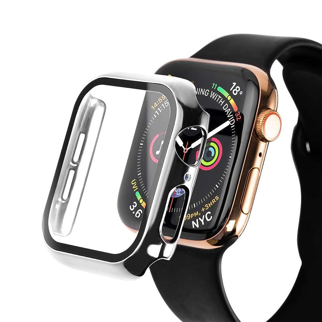 計算する早い光のApple Watch Series 5 40MM ケース【SLEO】液晶保護 軽量 耐久性 時計ウォッチケース 耐衝撃 PCスクリーン 全面保護 Apple Watch シリーズ 5 カバー (40mm 銀色)