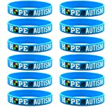 Inkstone (12-Pack) Hope for Autism Silicone Bracelets for Autism Awareness - Wholesale Bulk Pack of Wristbands