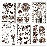 Henna Tattoo (6 Sheets) Mandala Mehndi Temporary Brown Tattoo Designs