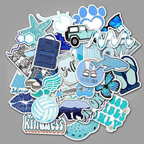 BaiHu VSCO Vinyl Stickers para Hydro Flask, 50 Piezas Cool Blue Stickers
