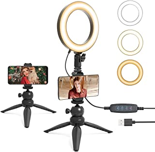 """UHURU 6"""" LED Ring Light with Tripod Stand & Phone Holder for Live Stream/Makeup,Portable Ring Light for YouTube Video Conf..."""