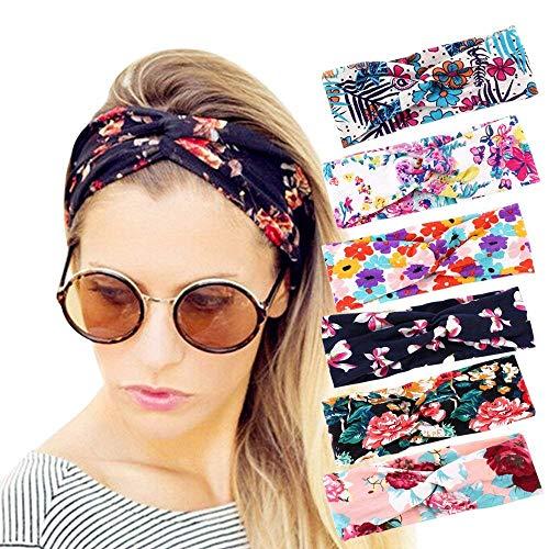 Lot de 6 bandeaux pour femme - Style vintage - Élastiques - Larges - Anti-humidité - Antidérapants - Accessoires pour cheveux torsadés