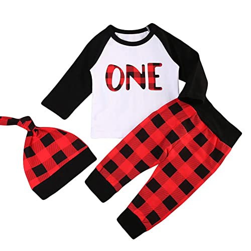 280c9d92 Babys 1st Birthday Outfits Long Sleeve T-Shirt with Red Plaid Pant and Hat  Christmas