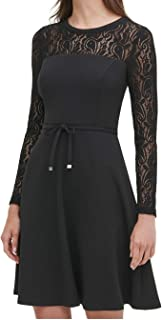Tommy Hilfiger womens Lace Sleeve Fit and Flare Dress Dress
