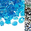 QuliMetal 1/2 Inch Fire Glass, Caribbean Blue High Luster Reflective Tempered Glass Rocks for Indoor Outdoor Fireplaces, Fire Pit, Natural or Propane, Decorative Firepit Glass Pellets, 10 Pound