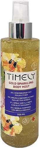 Timely Gold Sparkling Body Mist, spray per il corpo dalla fragranza sensuale, 200 ml