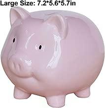 Piggy Bank, Cute Ceramic Coin Money Piggy Bank, Makes a Perfect Unique Gift, Nursery Décor, Keepsake, or Savings Piggy Bank for Kids, Pink (L)