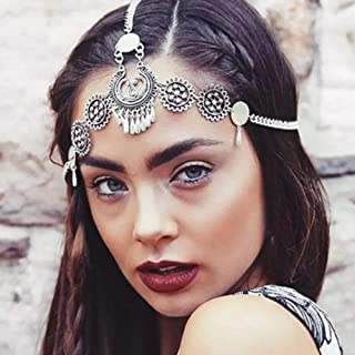 YERTTER Women Boho Vintage Silver Gold Head Chain Headpieces Hair Accessories Party Hair Jewelry for Women and Girls (Silver)