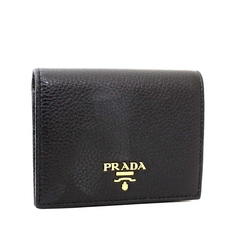 夕暮れ未亡人累計プラダ PRADA 1MV204 二つ折り財布 ブラック メンズ レザー [中古]