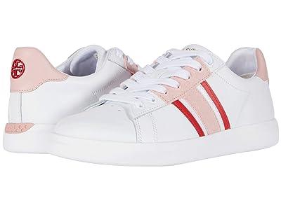 Tory Burch Valley Forge T Saddle Sneaker (Titanium White/Sport Lipstick/Light Pink) Women