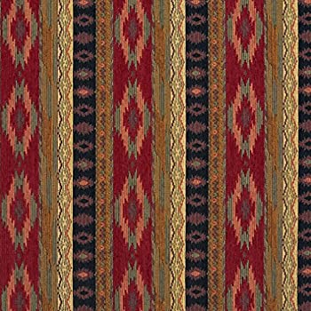 Black and Burgundy Southwestern Mexican Ranch Stripe Chenille Upholstery Fabric by the yard