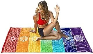 YJYdada Hot Rainbow Beach Mat Mandala Blanket Wall Hanging Tapestry Stripe Towel Yoga