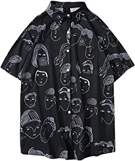 Aster JaKi メンズ カジュアル シャツ 春夏 半袖 ゆったり おもしろ プリント アロハシャツ 通気速乾 トップス