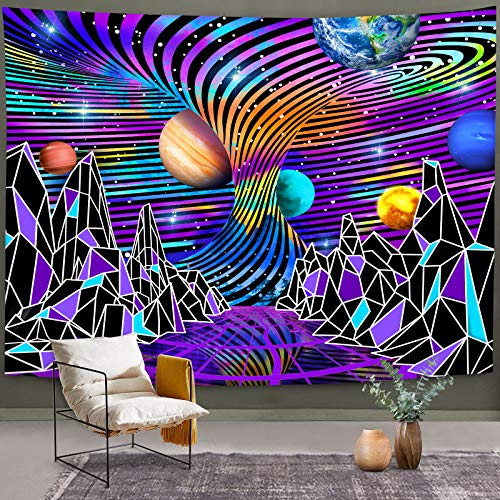 Bonsai Tree Space Tapestry, Trippy Mountain Wall Hanging Hippie, Psychedelic Abstract Planet Galaxy Stars Landscape Wall Art for Living Room Dorm Home Decor, 51x59 Inches