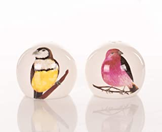 Bird On Branch Red and Yellow 2 x 2 Dolomite Ceramic Salt and Pepper Shaker Set