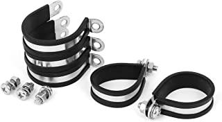 uxcell 38mm 304 Stainless Steel EPDM Rubber Lined P Clips Hose Pipe Clamp 5pcs