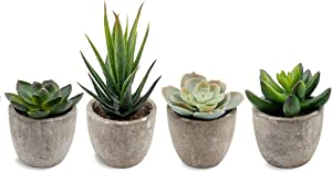 QUNPON Set of 4 Artificial Succulent Fake Simulation Plants with Pots, Ideal for Home, Office and Outdoor Decor