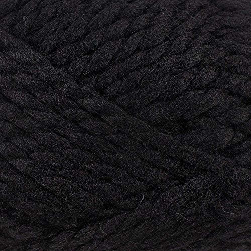 Super Bulky Wool Blend Yarn – Blended Wool and Acrylic Yarn for Knitting, Crocheting, and Crafting (Black)