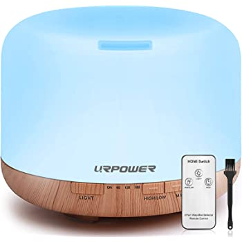 URPOWER 500ml Aromatherapy Essential Oil Diffuser Humidifier Diffusers for Essential Oils Room Decor Lighting with 4 Timer Settings, 7 LED Color Changing Lamps and Waterless Auto Shut-Off