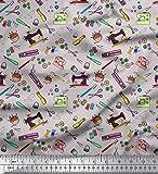Soimoi Gris dril de algodon Tela tijeras, botones y la máquina de coser tela artesanal impresa por metro 56 Pulgadas de ancho