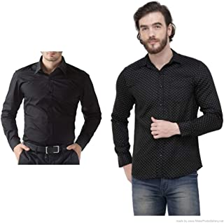 ZAKOD Combo of Plain and Polka Print Cotton Shirts for Men's Wear,Normal Wear Shirts,Available Sizes M=38,L=40,XL=42,100% Pure Cotton Shirts(Combo of 2)