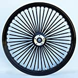 26 X 3.5' BLACK 48 FAT KING SPOKE FRONT WHEEL FOR HARLEY FLT & CUSTOM 1' BEARING