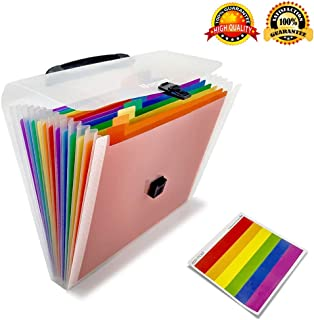 Expanding File Folder/Accordion Folder File Organizer Handle A4 Multicolor Portable Expanding Wallets Large Capacity Portable Box Document Stand Bag, Labels,Office, Study, Business (13 Pockets)