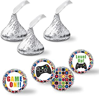 "Game On! Video Gamer Birthday Party Kiss Sticker Labels, 300 Party Circle Sticker sized 0.75"" for Chocolate Drop Kisses by AmandaCreation, Great for Party Favors, Envelope Seals & Goodie Bags"