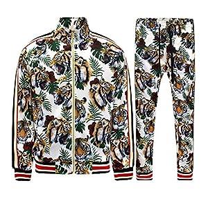 G-Style USA Men's Side Stripe Zipper Jacket Drawstring Waistband Tracksuit