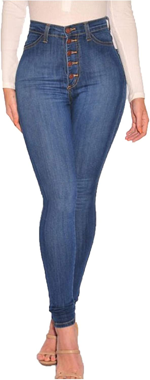 WUAI-Women Stretch Pull-On Skinny Jeans Jeggings Butt Lift High Waisted Totally Shaping Skinny Leg Denim Jeans
