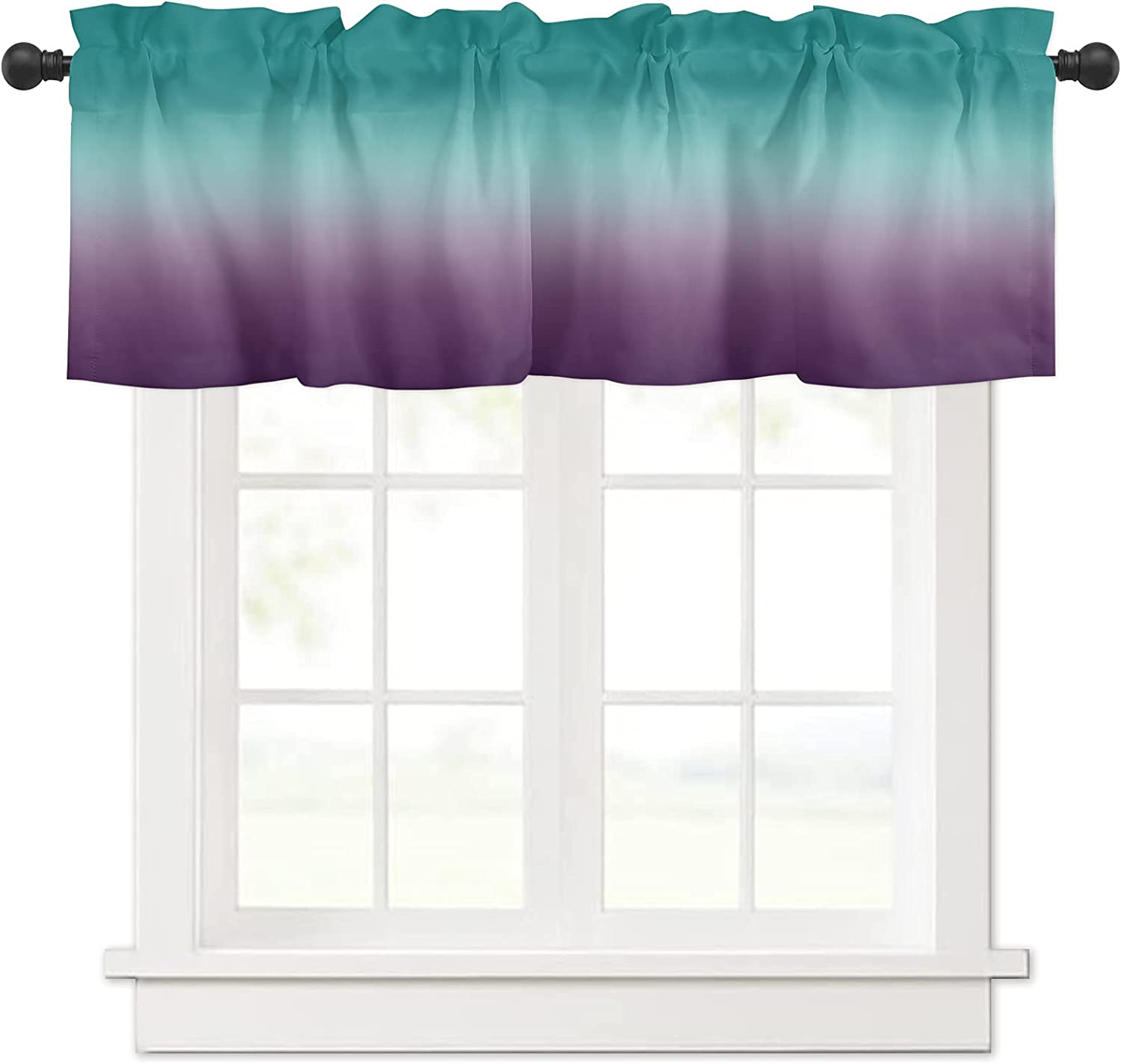 Ombre Purple Turquoise Cyan Weekly update Gradient Valances Window Curtain Product for