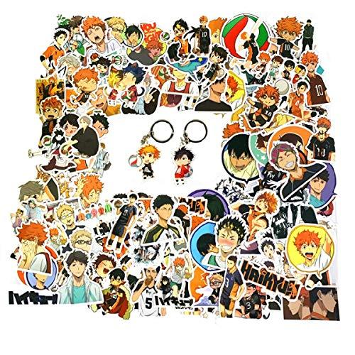 150PCS Haikyuu Stickers and 2PCS Haikyuu Keychains, Anime Stickers Haikyuu for Laptops, Computers, Water Bottles,Luggage Decals