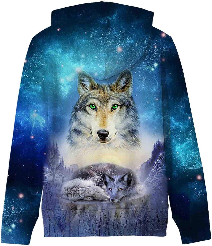 AIDEAONE Kinder Jungen Mädchen Kapuzenpullover 3D Print Fleece Pullover Hoodies Sweatshirt mit Kängurutasche Wolf 3