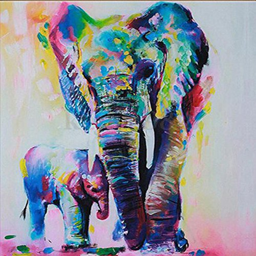 5D Diamond Painting Kit Bricolage en strass en broderie Cross Stitch Arts Craft pour décoration murale à la maison 11,8 * 11,8 pouces (30 * 30 cm) Peinture à l'huile Elephant Mother and Baby