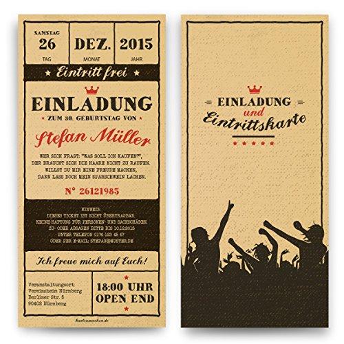 Einladungen zum Geburtstag (30 Stück) Vintage Ticket Eintrittskarten Retro 50er Jahre