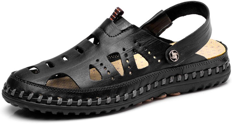 Men's shoes Leather Sandals Spring Summer Men Comfort Light Soles Outdoor Travel   Seaside Sandals Beach shoes (color   Black, Size   39)