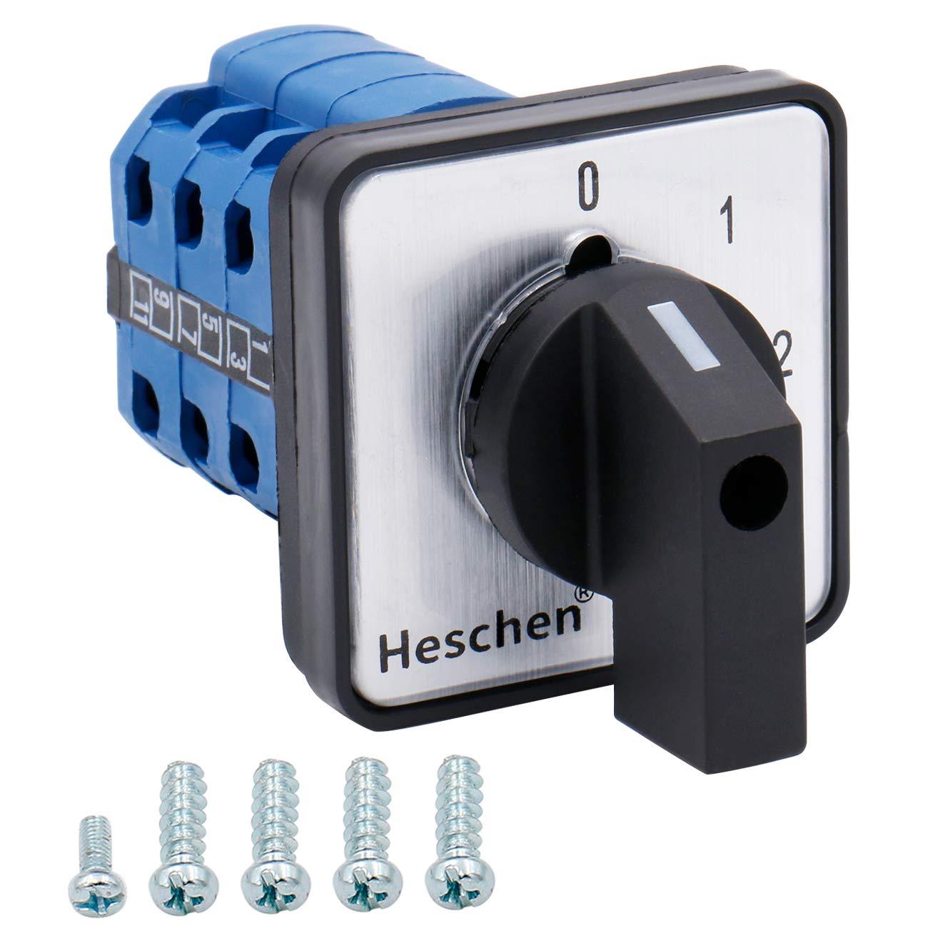 Heschen Interruptor selector de levas giratorio universal LW28-20/0123.3 660V 20A 4 posiciones 3 Fase 12 Terminales CE