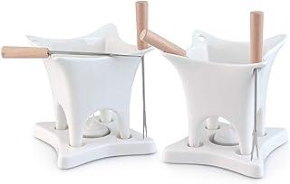 Swissmar Harmony 10 piece Dual Fondue & Butter Warmer Set, 10Piece, White