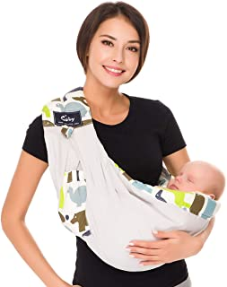Baby Carrier by Cuby, Natural Cotton Baby Sling Baby Holder Extra Comfortable for Easy Wearing Carrying of Newborn, Infant Toddler and Ideal for Baby Registry (Grey Animal)